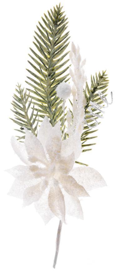 Vetvička MagicHome Vianoce, s kvetom poinsettia, biela, 23 cm, bal. 6 ks