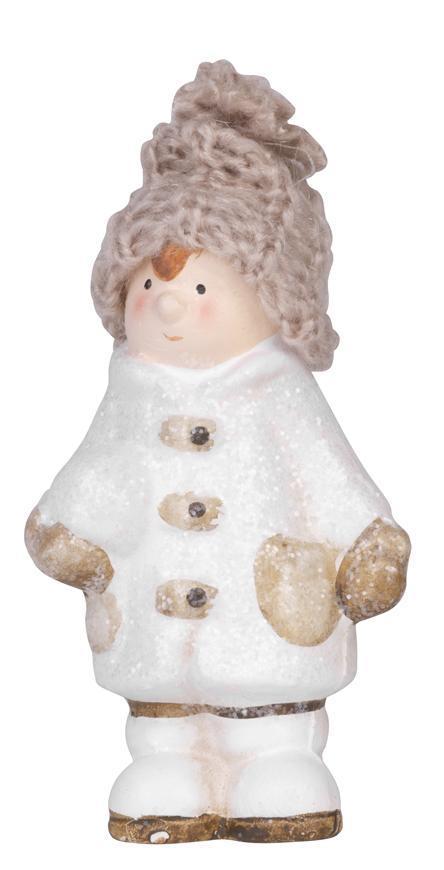 Postavicka Chlapček s pletenou čiapočkou držiac snehovú guľu, terakota, 11 cm