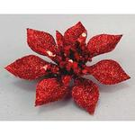 Kvet Poinsettia Gliterclip.Red, červená, 10 cm