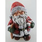 Postavicka Santa držiaci darčeky s palicou, polyresin, 15 cm