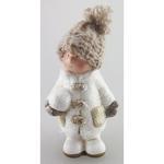 Postavicka Dievčatko s pletenou čiapočkou držiac snehovú guľu, terakota, 11 cm