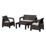 Set terasovy ANTIGUA, Moca hnedá, stôl, 2x stolička, 1x dvojkreslo