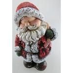 Postavicka Santa držiaci batoh, LED, polyresin, 22 cm