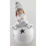 Postavicka Dievčatko sediace na snehovej guli, LED, terakota, 16.8 cm