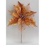 Kvet Poinsettia Glitedgeer.Copper, medená, stonka, 23x25 cm, bal. 6 ks