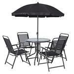 Set zahradny LETICIA GREY, stôl 85x71 cm, 4x stolička 74x53x91 cm, dáždnik 180 cm